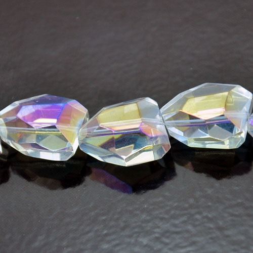 15x20mm Faceted Nugget Fire-n-Ice Crystal Clear AB