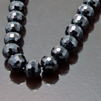 10mm Faceted Round Fire-n-Ice Crystal Jet black