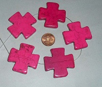 5 Large Pink Howlite Cross Pendants