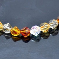 8mm Faceted Helix Fire n Ice Crystal AB Clear  Lt Topaz  Black