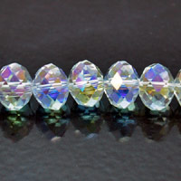 8x10mm Rondelle Faceted Fire-n-Ice Crystal Clear AB