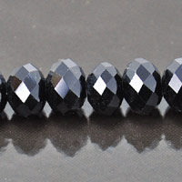 8x10mm Rondelle Faceted Fire-n-Ice Crystal Jet Black