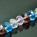 6X8mm Faceted Rondelles Fire n Ice Crystal Clear AB Lt Rose