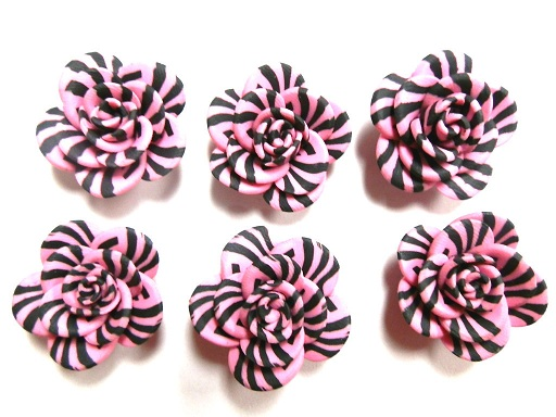 Fimo Polymer Clay Zebra Stripe Pink Animal Print Flower Rose Beads 25mm