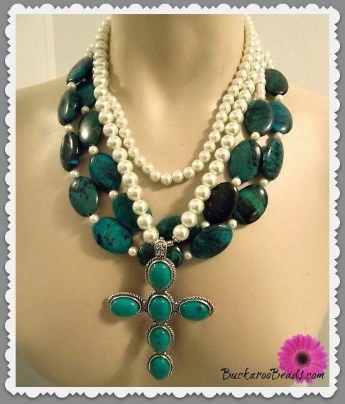 Blue Green and Pearls Cross Necklaces