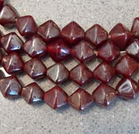 12mm Cranberry BiCone Luster Artisan Glass Bead