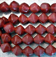 12mm Cranberry BiCone Matte Artisan Glass Bead