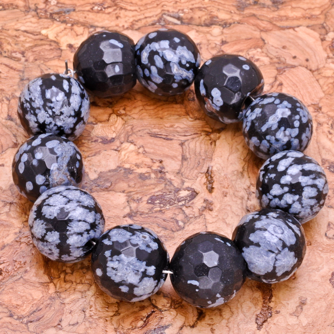 12MM 11PCS SNOW FLAKE OBSIDIAN GEMSTONE FACETED ROUND BEADS