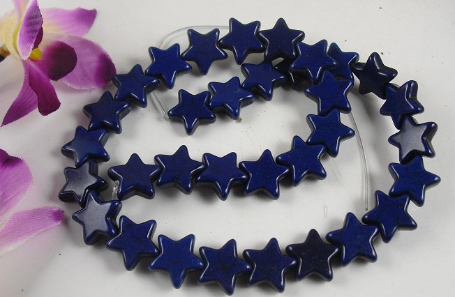 "16"" lapis color star shape beads"