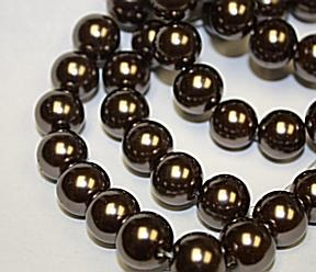 Glass Pearl Antique brown beads approx 10mm 32 inches