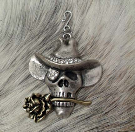 Pendant Silver and Gold Cowboy Skull