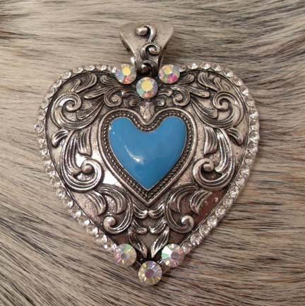 Magnetic Pendant AB and Clear Rhinestones Heart