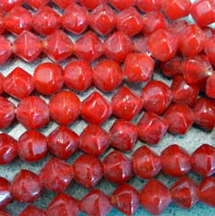 12mm Red BiCone Luster Artisan Glass Bead