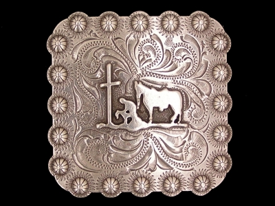 Square Berry Praying Cowboy Antique Silver