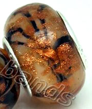 5 Lampwork murano glass Beads 14x10mm TIGER