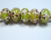 5pcs Green Murano Glass Beads