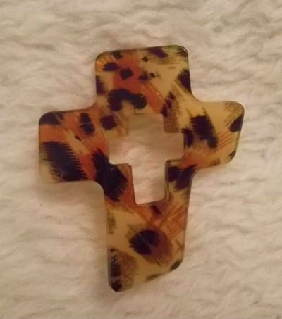 Cheetah Leopard Wavy Acrylic Cross