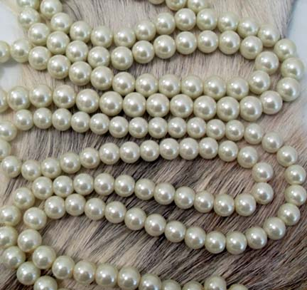 Off White Glass Pearls 32 inch strand