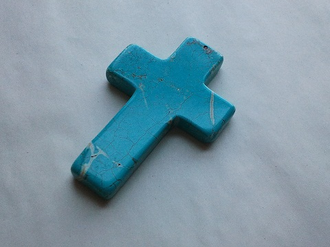 CROSS Turquoise Gemstone Pendant Bead 90MM