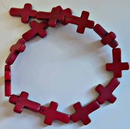 Red Howlite Crosses