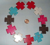 Choice Large Mix Color Howlite Cross 40x40mm