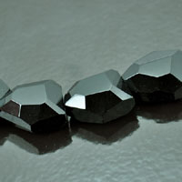 15x20mm Faceted Nugget Fire-n-Ice Crystal Jet Black