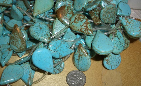 strand turquoise beads 25mm x 15mm x 4mm