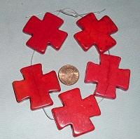 Red Howlite Crosses 40x40mm