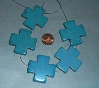 large turquoise Howlite cross pendant