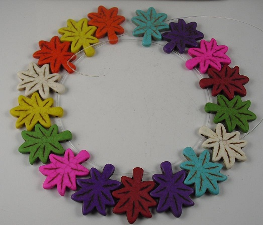 Howlite Colorful Leaf Beads 22x40mm