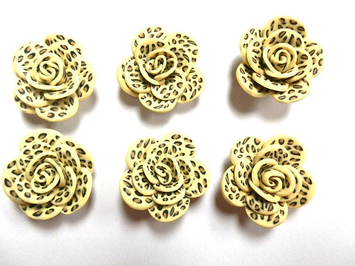 Fimo Polymer Clay Leopard Animal Print Flower Rose