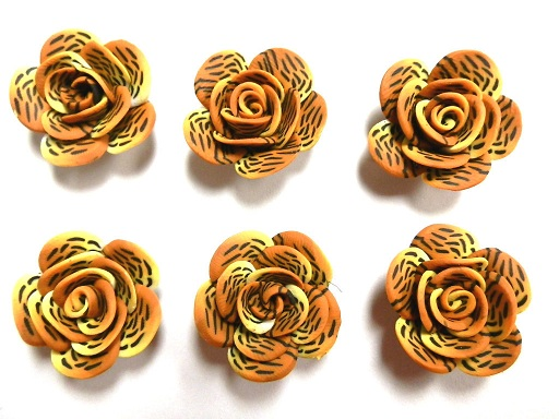 Fimo Polymer Clay Tiger Animal Print Orange Brown Flower Rose Beads 25mm