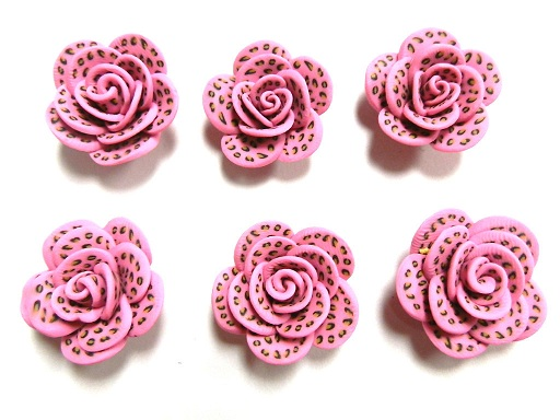 Fimo Polymer Clay Leopard Pink Animal Print Flower Rose Beads 25mm