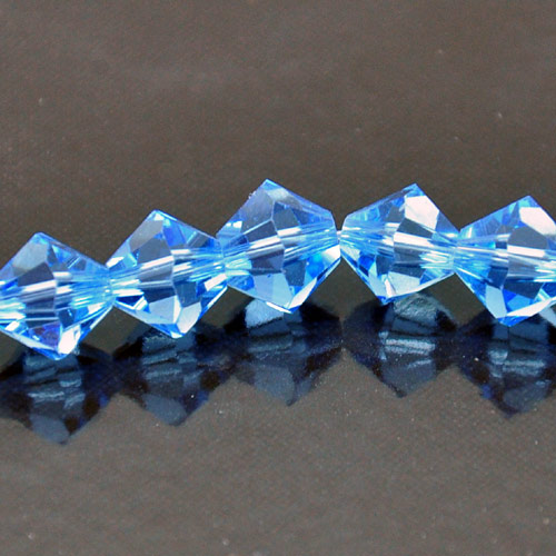 8mm Faceted Bi-cone Fire-n-Ice Crystal�, Lt Sapphire(Lt Blue), strand
