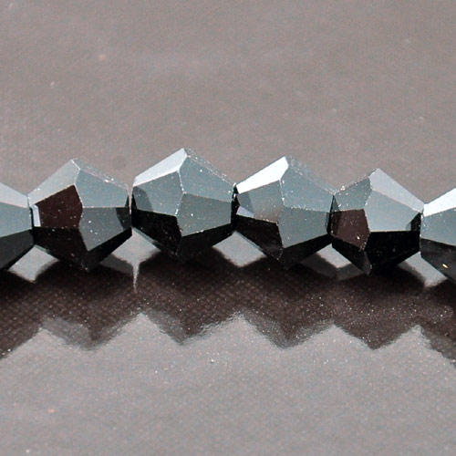 8mm Faceted Bi-cone Fire-n-Ice Crystal®, Jet(Black), strand