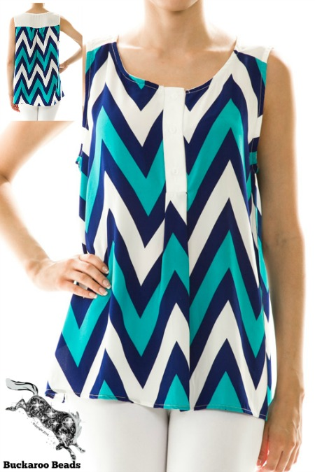 CLEARANCE Chevron Print Sleeveless Top PLUS SIZE