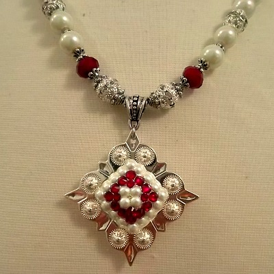 Christmas red and pearls Cowgirl Concho necklace