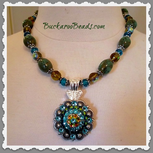 Cowgirl Open Range Crystal Concho Necklace