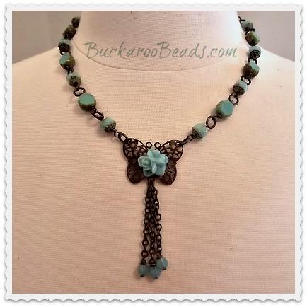 Czech &  Brass Butterfly Link Necklace