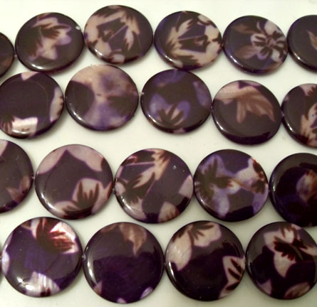 Purple Flower Print Shell Beads 20mm