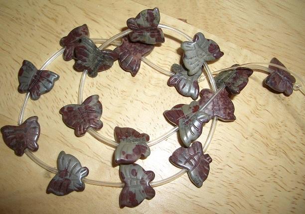 Red Leopard skin Jasper Butterfly bead