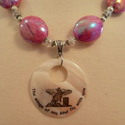 Pink Swirls Barrel Racing Angel Necklace - RESERVED for Toni