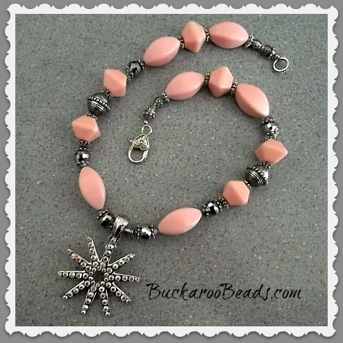 Pink and Silver Rhinestone Rowel Necklace