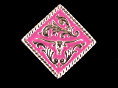 Pink Longhorn diamond Concho