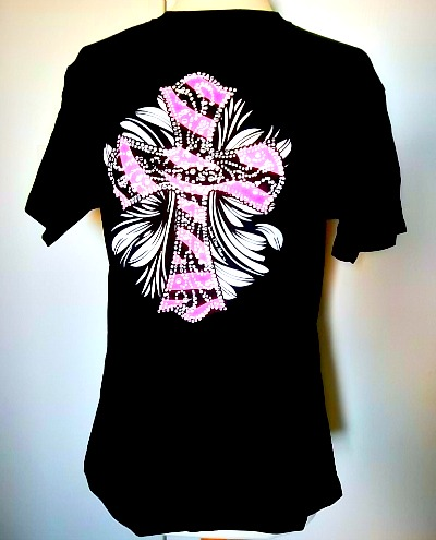 Black Tshirt with Hot Pink Zebra Cross
