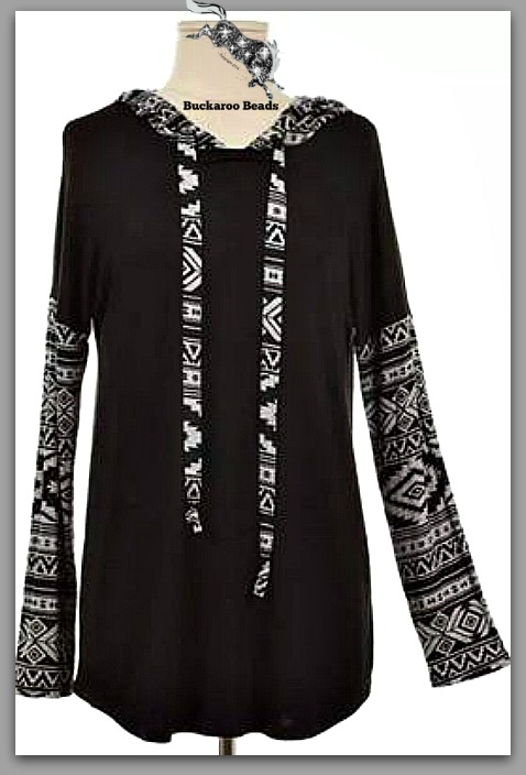 Hooded Aztec Contrast Top