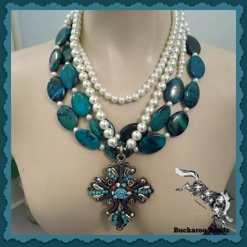 Blue Green Turquoise and Pearls Cowgirl Cross Necklaces