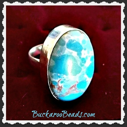 Blue Sea Sediment Stone Ring - Size 6 7/8