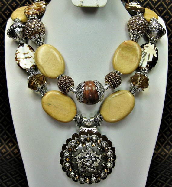 "Brown Earthtones Cowgirl Necklace with Concho Pendant ""Sand Dunes"""