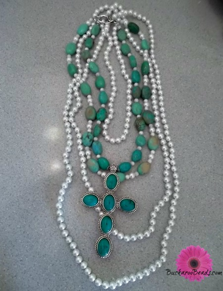 Layers of Pearls and Turquoise Cross Necklaces